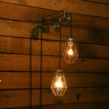 Industrial Pulley Light - Trolley Wall Light  - Hanging Light Pendant - Pendant Lighting great for your Edison Style Bulbs