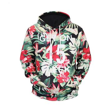 Autumn and winter men's personalized 3D printing custom hooded sweater