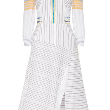 Cold-shoulder striped cotton and silk-blend midi dress | Peter Pilotto | US | THE OUTNET