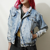 90s Vintage ACID-WASH Jacket Jean Denim SHERPA Lined Pale Crop Bomber Grunge vtg 1990s xs