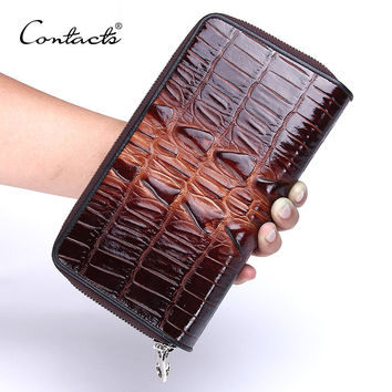 Genuine Leather Men's Wallets Large Capacity Double Zipper Brand Design Casual Male Clutch Wallets With Card Holder