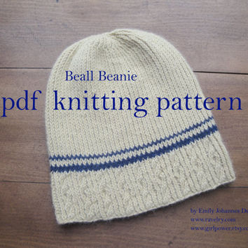 Beall Beanie PDF Knitting Pattern, Cables Stripe Rib Hat, Sport Weight Yarn, Teens & Men