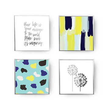 SET of 4 Prints, Paint Strokes Print, Big Dandelion, Gold Foil Print, Motivational Poster, Life Is Your Message Set, Abstract Art,Home Decor