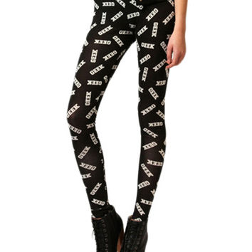 Black Geek Print Skinny Elastic Leggings