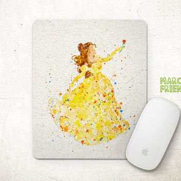 Belle Mouse Pad, Beauty and the Beast Watercolor Art, Mousepad, Home Art, Gifts Idea, Art Print, Desk Decor, Disney Accessories