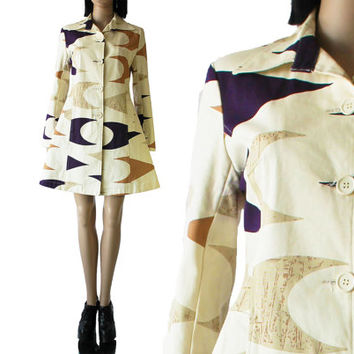 Abstract Canvas Coat Fit and Flare Structured Beige 80's 90's Boho Hipster Clothing Winter Outerwear Women's Size Medium