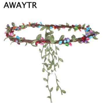 2017 New Fashion Flower Crown Wedding Hair Accessories Bridal Girls Headwear Hairbands Beach Leaf Berry Wisteria Wreath Headband