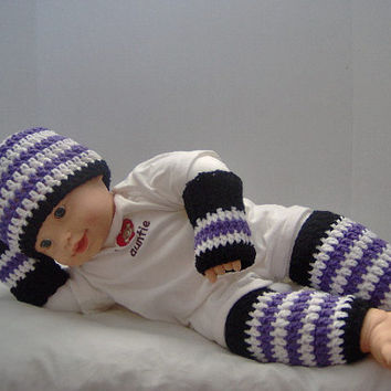 Hat an legwarmer set with free fingerless mittens,Handmade Crochet Baby striped Hat & Legwarmer Set,Crochet Hat an Legwarmer Set -Photo Prop
