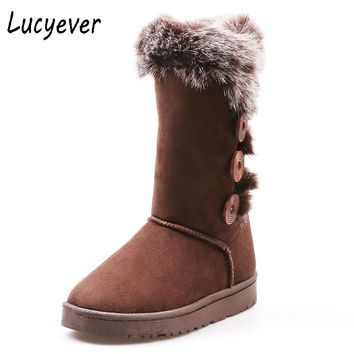 Lucyever Winter Women Vintage Snow Boots Fashion Fur Keep Warm Mid Calf Boots Faux Suede Plush Platform Ridding Boots