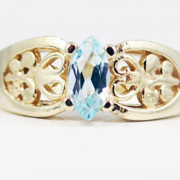 Aquamarine 14k Yellow Gold Marquis Filigree Ring, March Birthstone Ring, 14k Yellow Gold Ring, Solid Yellow Gold Ring, 14k Gold Filigree