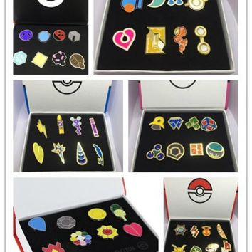 Pokemon Go ! Gym Badge Game Accessories Brooch Box Sets