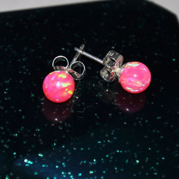 6mm Ball Stud Post earrings, Hot Pink Earrings,Opal Earrings, Sterling Silver Earrings,  Australian Opal, 925 Sterling Silver
