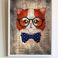 Cute Geek Cat With Glasses Print Funny Kitten Anime Dictionary Paper Animal Poster Bedroom Wall Art Decor