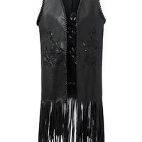 Black Floral Embroidery and Braided Edge Faux Leather Fringed Vest Jacket