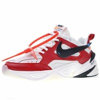 "Off white x Nike Air Monarch the M2K Tekno ""OW Leather White Red"" Retro Running Sneaker AO3108-060"