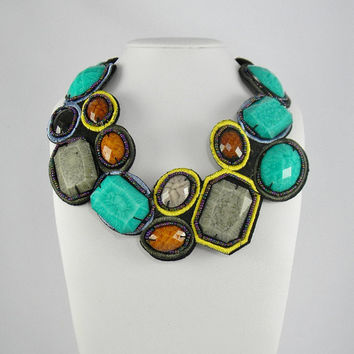 Big and Chunky TURQUOISE BRONZE and GRAY Color Beaded Bib Collar Statement Necklace