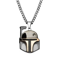 Star Wars Stainless Steel Two Tone Boba Fett Pendant Necklace (Black)