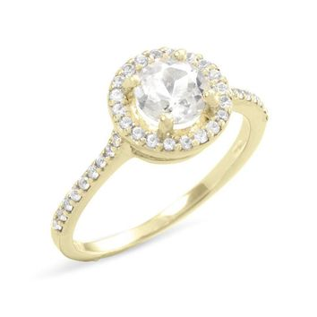 10k Yellow Gold Natural Round White Topaz and White Sapphire Halo Ring