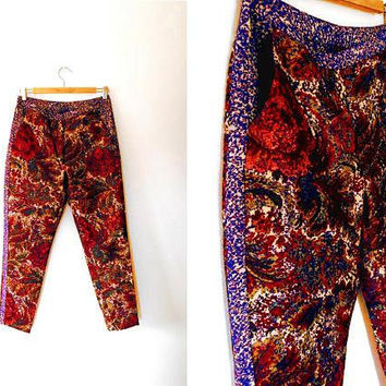 Bold floral sparkly paisley shimmer cigarette pants / colourful / metallic / gold / red / purple / embroidered / retro / vintage trousers