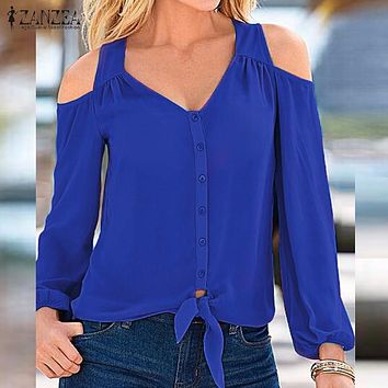 ZANZEA Women Blouses Tops 2017 Autumn Female V Neck Long Sleeve Shirts Sexy Off Shoulder Casual Loose Oversized Solid Blusas Top