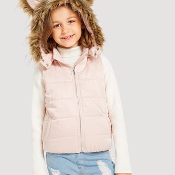 Girls Faux Fur Hoodie Vest Jacket