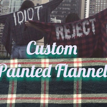 Custom Hand-Painted Flannel, Mystery Flannel, Unisex Clothing, Grunge, Soft Grunge, Pastel Goth, Women Flannel, Men Flannel