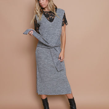 Head Over To Sweater Dress - Gray