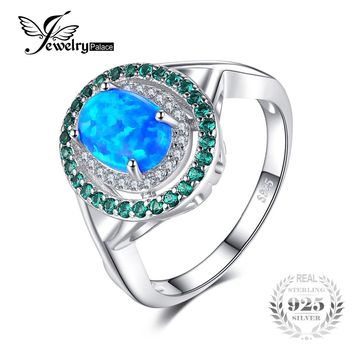 JewelryPalace Luxury 1.2 ct Oval Created Black Opal Emerald Cocktail Ring Genuine 925 Sterling Silver Vintage Jewelry For Women