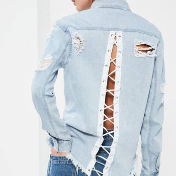 Missguided - Blue Lace Up Back Denim Shirt