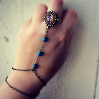 opal and turquoise slave bracelet, bracelet ring, slave ring, opal ring, turquoise bracelet, ring connected to bracelet