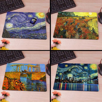 Van Gogh Star Doctor Who Computer Mouse Pad Mousepad Decorate Your Desk Non-Skid Rubber Pad