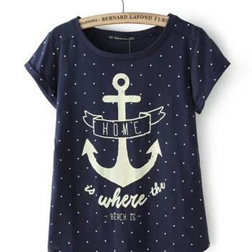 Blue Polka Dot Anchor Print Short Sleeve T-shirt