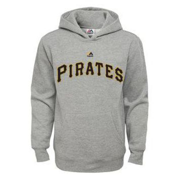 Pittsburgh Pirates Majestic MLB Gray Ultra Fleece Pullover Hoodie