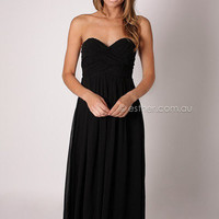 Elisha strapless gown - black at Esther Boutique