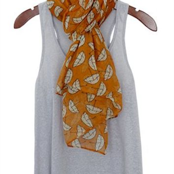 Wellies and Brollies Scarf, Butterscotch