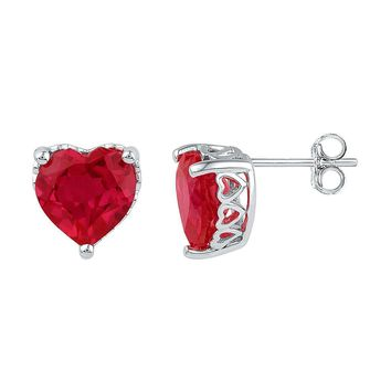Sterling Silver Women's Heart Lab-Created Ruby Solitaire Heart Stud Earrings 7.00 Cttw - FREE Shipping (US/CAN)