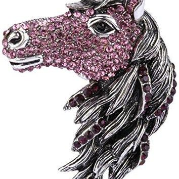 Angel Jewelry Womens Crystal Big Horse Head Stretch Rings Scarf Ring Buckle Clip Women