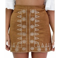 Black Khaki Empire Tube Suede Skirt Women Plus Size Fashion Mini Basic Skirts Saia