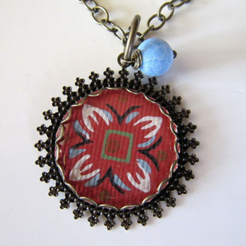 CHARM Necklace Vintage Floral Wallpaper, Antiqued Brass Pendant Terracotta Red, Turquoise 18 inch Chain, Key Charm, Limited Edition Creation