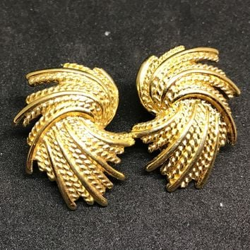 Vintage Signed Monet Gold Clip Earrings FABULOUS