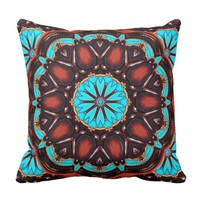K172 Wood And Turquoise Kaleidoscope Throw Pillow
