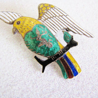 Parrot Brooch Rare Siam Brooch Sterling & Enamel  Bird Pin Enamel Brooch Lapel Pin Sterling Brooch Wife Mom Gifts For Her