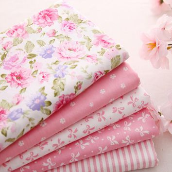 New ! 5pieces 40*50CM   Pink Printed Cotton Fabrics Telas Bundle DIY Patchwork Sewing cloth Baby Toy Material Quilting Bedding