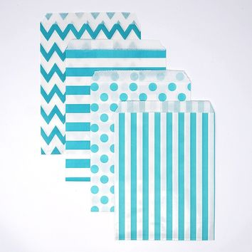 Chevron Polka Dot Stripe Aqua Blue Paper Treat Favor Bags 5x7 Gift Bags - 48 count