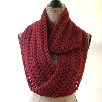 New Cranberry Dark Red Cowl Scarf Fall Winter Women's Accessory Infinity