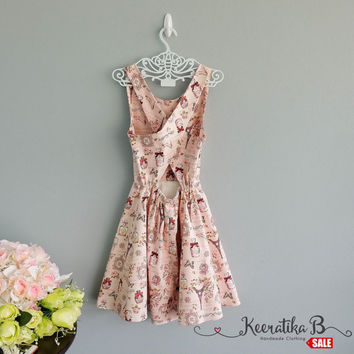 SALE - Backless Cross Back Pink cottage print romance girly dress Sexy spring summer dress Cross back simply pleated dress Small