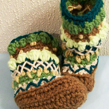 Baby Mukluks Granny Boots-Crochet-Browns and Greens--Baby Shower Gift--3/6M--#266