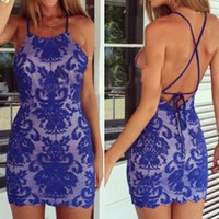 Blue Lace Strappy Mini  Dress