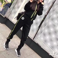 """Chanel"" Women Casual Ribbon Stripe Thickened Long Sleeve Hooded Sweater Trousers Set Two-Piece Sportswear"