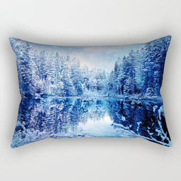 Blue Winter Wonderland : Forest Mirror Lake Rectangular Pillow by 2sweet4words Designs